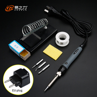 Eu Plug 220v 40w 50w 60w Adjustable Temperature Electric Soldering Iron KitTips Portable Welding Repair Tool