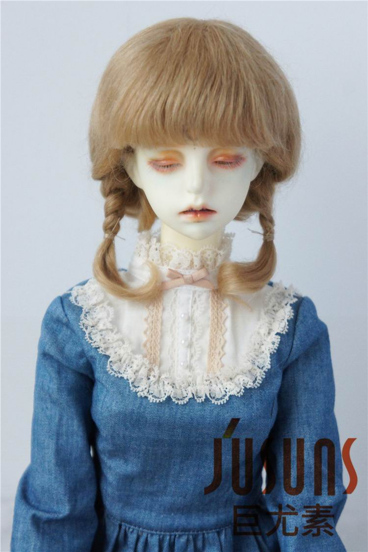 JD143 SD mohair doll wigs 1/3 inch short twin braid wig Size 8-9 inch doll hair fashion  ...