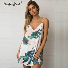 Модные palm Leaf Print летнее платье Женская Повседневная Холтер майка с v-образным вырезом платье Boho мини-платья женский пляжная сарафан xxl