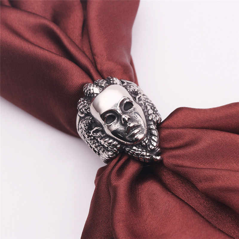 Панк греческие мифологические религиозные сплавные кольца ужас венозные змеи змея волос кольцо с Медузой-Горгоной украшение для панков и байкеров для мужчин Размер 8-13