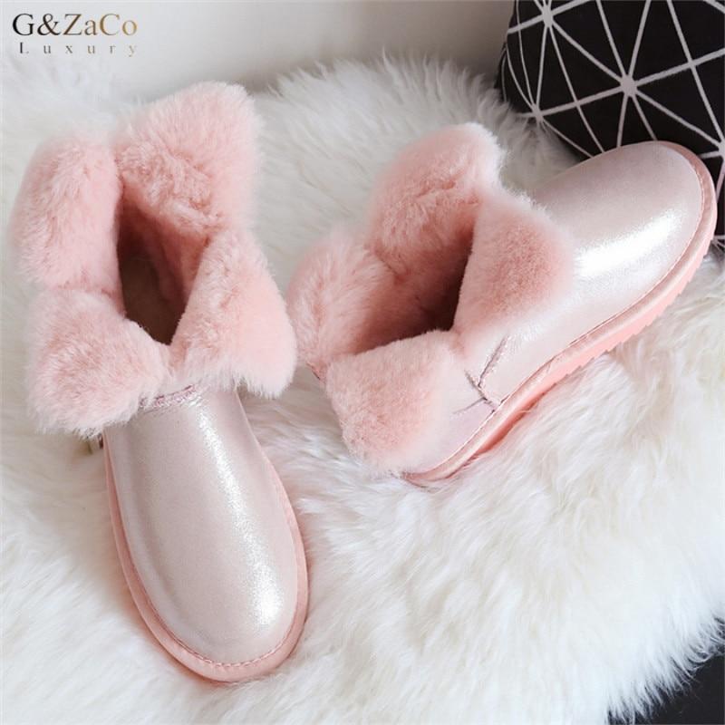 G&Zaco Sweet Clover Flower Short Sheepskin Snow Boots Natural Wool Shearling Winter Ankle Boots Women Sweet Boots Winter Shoes худи print bar sweet snow