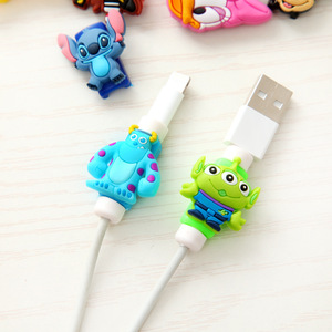Image 3 - Anti fracture 10pcs/lot Cartoon USB cable Earphones Protector For iphone android cable Data Line Protection