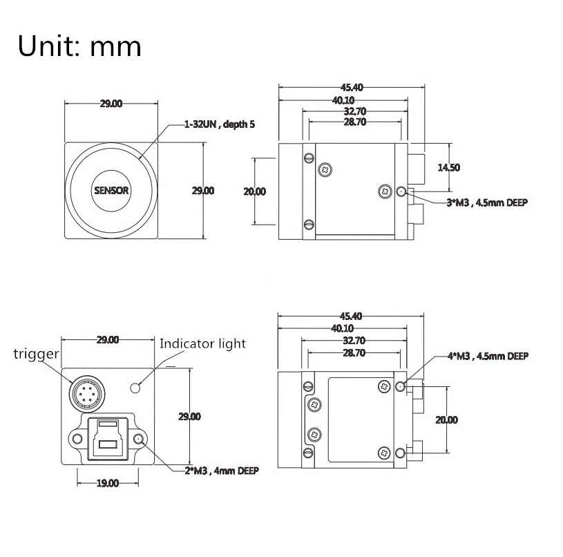 """USB3.0 công nghiệp máy ảnh 1 """"Cán Màn Trập 20MP 5488X3672@19.5FPS Hỗ Trợ U3VISION giao thức, HALCON Labview"""