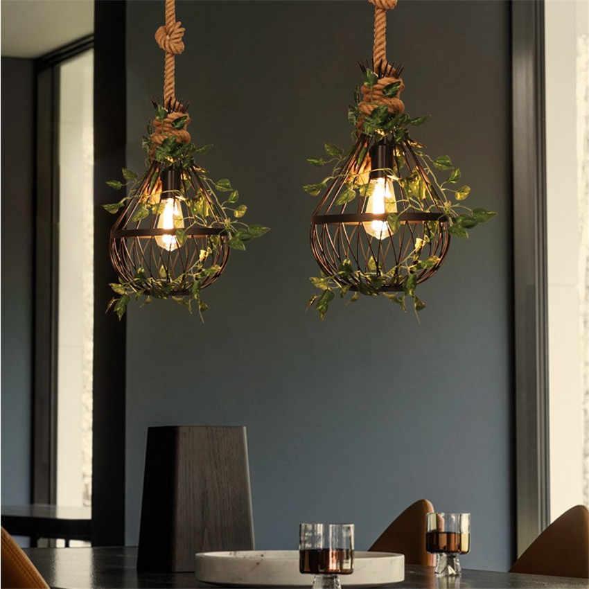 Промышленный ветер железо и конопляная веревка винтажная Подвесная лампа светодиодный светильник Эдисона подвесной светильник Лофт Декор искусственное растение освещение для столовой