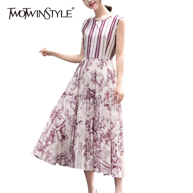 TWOTWINSTYLE Off Shoulder Print Dress Women High Waist O Neck Hit Color Sleeveless Long Pleated Dresses