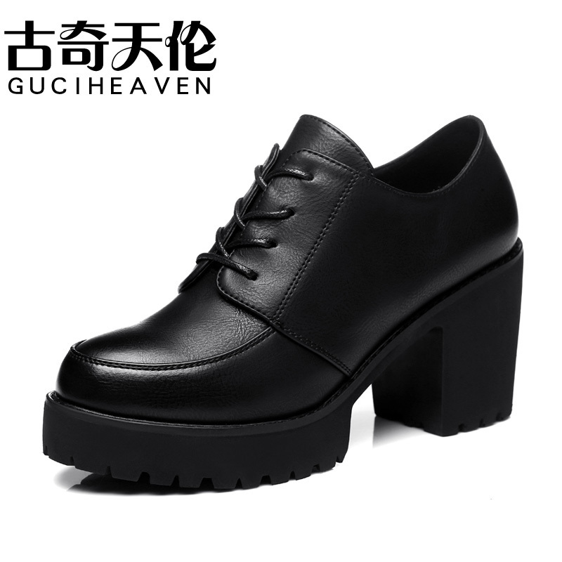 Guciheaven 8140 Fashion Women Lace-Up Comfortable Casual Shoes Pumps Leather Shoes,Ladies Round Toe Rough high Heels Rubber Sole