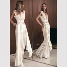 HIGH STREET новейшая мода дизайнерский комбинезон женский элегантный v-образный вырез яркий Бант пояс с цепью с принтом широкие брюки комбинезон Комбинезоны