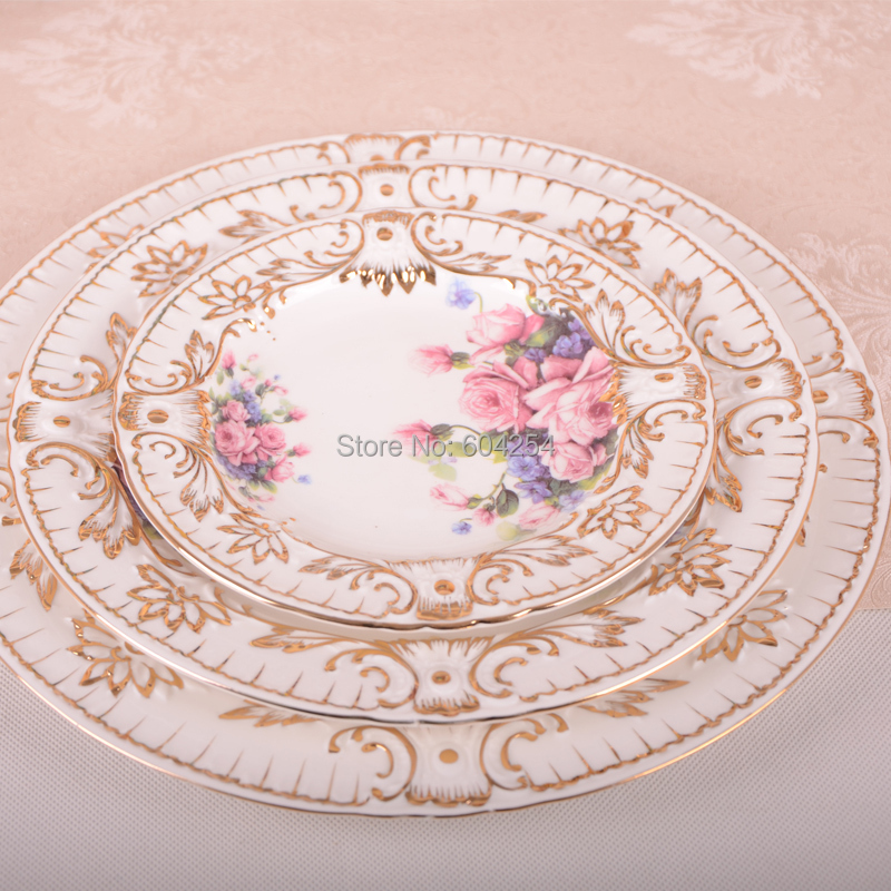 Free shipping 72 piece European luxury handmade embossed gilt palace bone china dinnerware set pink flower with Coffee Set-in Dinnerware Sets from Home ...  sc 1 st  AliExpress.com & Free shipping 72 piece European luxury handmade embossed gilt palace ...
