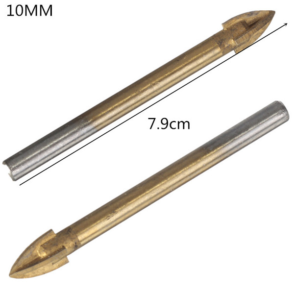 Real Time-limited Tools Brocas 10 Mm Titanium Carbide Glass Drill Bit Cross Spear Point Head For Wall Ceramic Tile best promotion 10pcs set diamond holesaw 3 50mm drill bit set tile ceramic porcelain marble glass top quality
