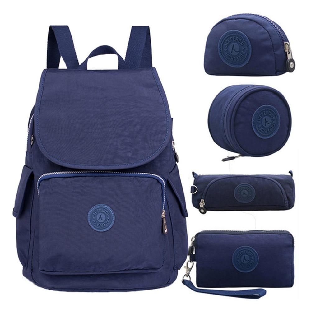 Mulheres Mochila Originais 5 ACEPERCH pçs/set Menina Da Escola Saco de Nylon Mochila Impermeável Mujer femme sac a dos mochilas escolares