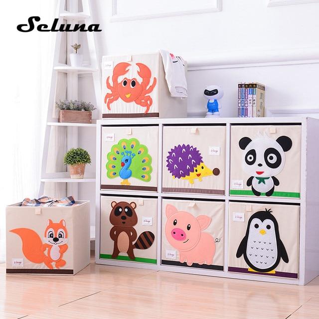 Seluna Cartoon Folding Storage Box Creative Children Toys Clothes Sundries Organizer Cute Animal Bin With Lid