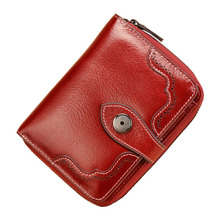 Vintage Genuine Real Leather Women Short Wallets Small Wallet Coin Pocket Credit Card Wallet Female Purses Money Clip QB73