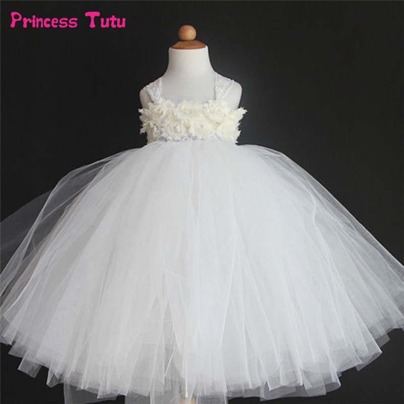 Child Kids Girl Floral Princess Tutu Dress Tulle Wedding Party Pageant Ball Gown