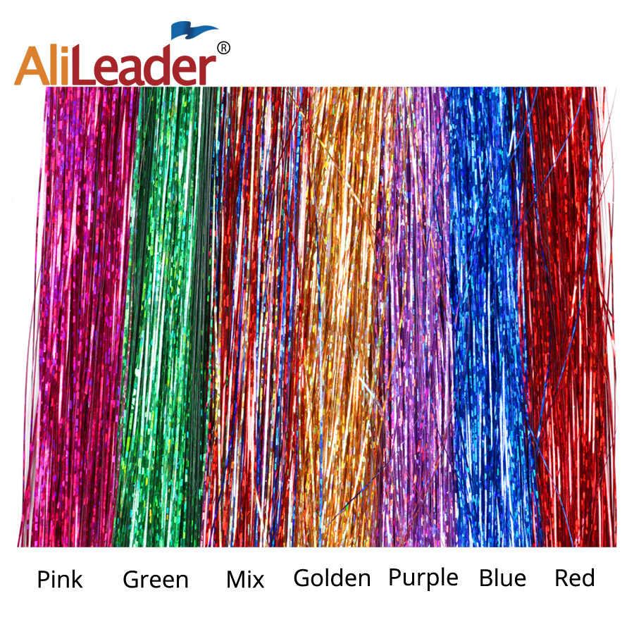 Alileader  16 Inch Sparkly Synthetic Clip In One Piece Hair Tinsel Strip Gold Green Pink Color For Girls And Party