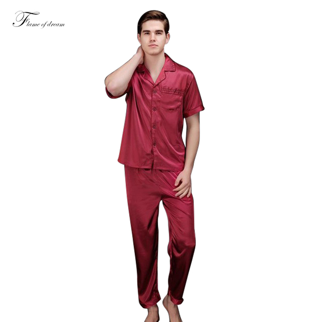 Mens Sexy Sleepwear Pijamas Pijama Hombre Hombre Mens Pijama de Cetim de Seda Pijamas Dos Homens 313