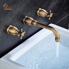 ZGRK Wall Basin Faucet Set Brass Double Handle Mounted Bathroom Sink Hot And Cold tap