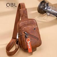 QiBoLu Fashion Pu Vintage Women Chest Bags Casual Tote Single Shoulder Sling Bag Ladies Messenger Crossbody Bag For Women