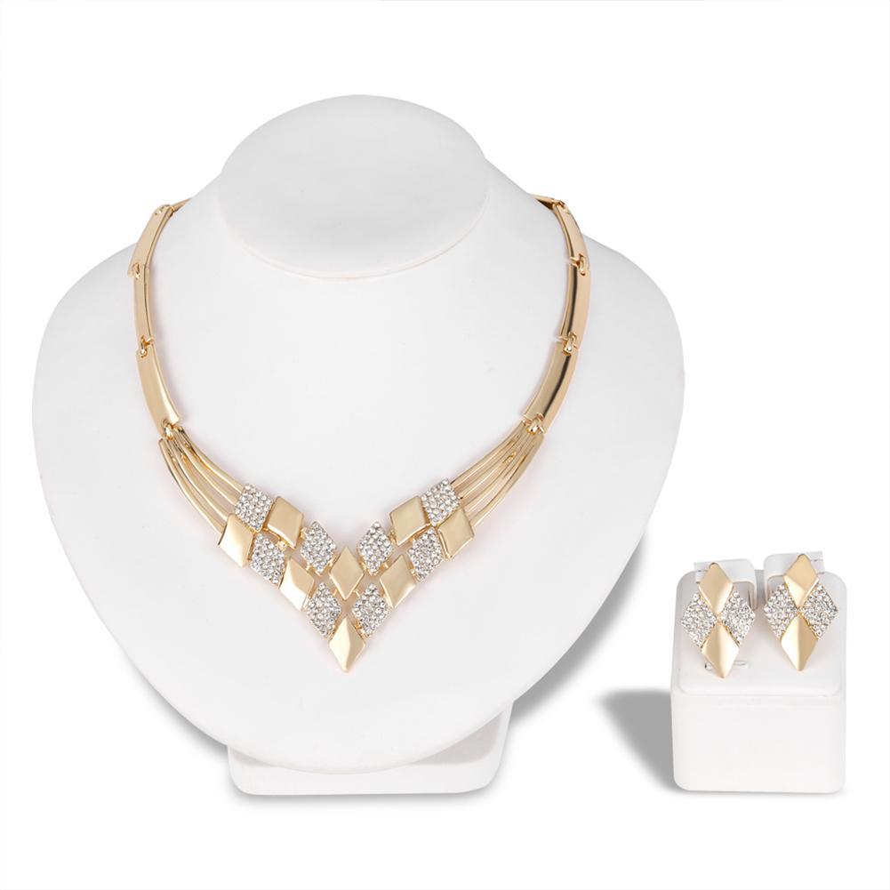 Women wedding KC Rhombus Shape Necklace Earrings Rhinestones Party Jewelry Set africain costume jewelry Elegant Gold Jewelry