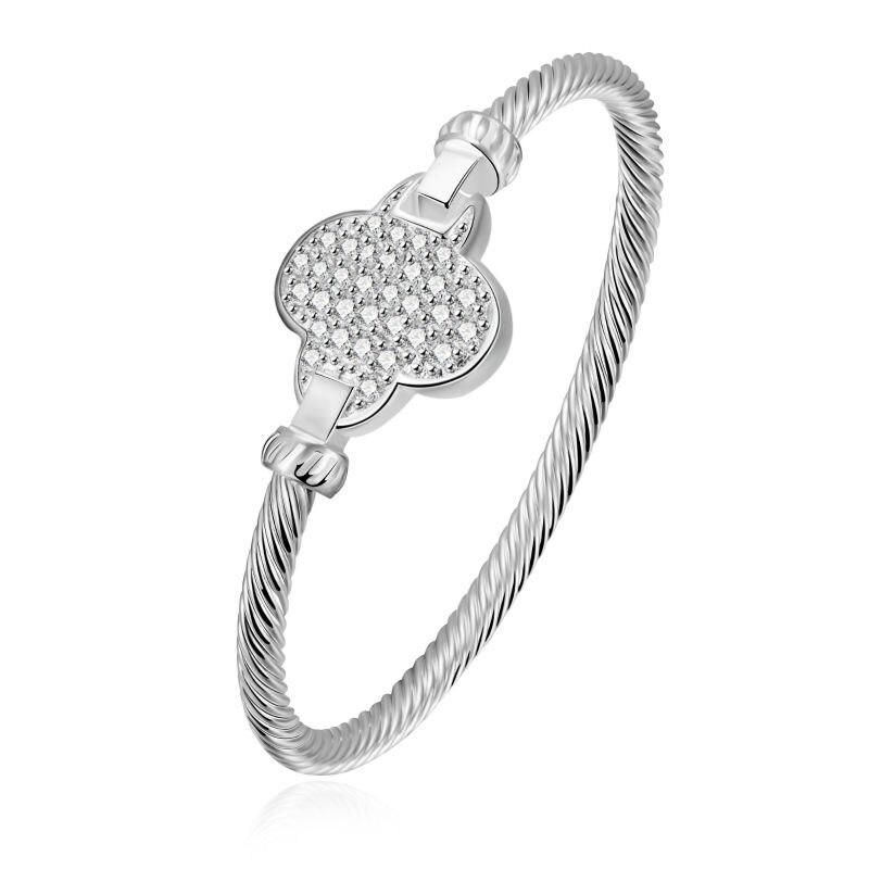 Nouveau Mode et Fantaisie Bling Cubique Zircon Fleur Fermoir Vis Bracelets  Pour Les Femmes Parti Argent Main Chaîne Club Usine Bijoux a2a7dacf3ac