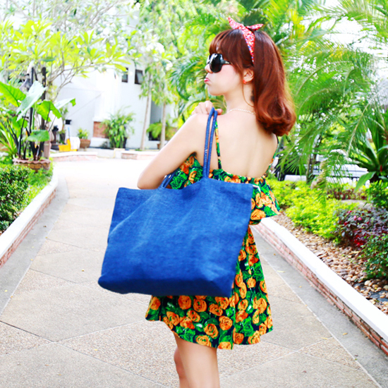 New Super Large Capacity Beach Bag Blue Female Casual Summer Boho NEW Beach Large Straw Woven Travel Tote Shoulder Bag