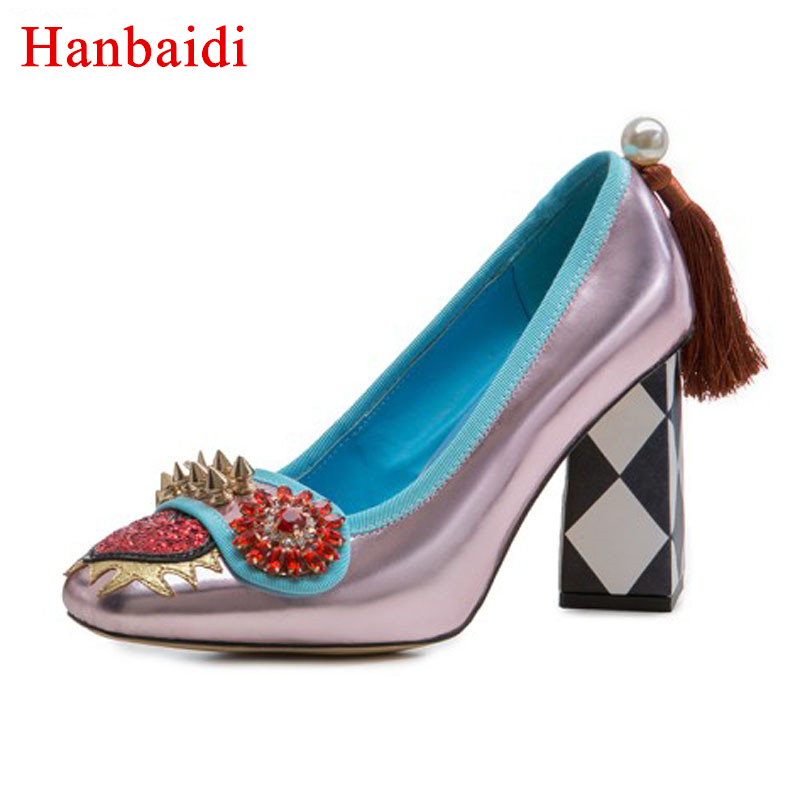Hanbaidi Spring genuine leather Shoes Women crystal rhinestone high heels spicked rivets studded love heart tassel Pumps zapatos 10 20feet 300 600cm photography background boats dock house wallpaper free shipping