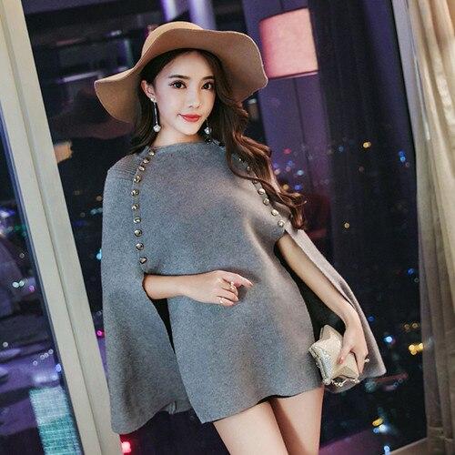 HAMALIEL для женщин Осень Зима Вязаный плащ свободный свитер Подиум черный пончо накидка Двубортный повседневный шаль пуловер Джемпер - Цвет: Серый
