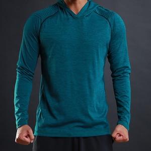 Image 1 - FLORATA 새로운 트렌디 한 가을 남성 T 셔츠 캐주얼 긴 소매 슬림 남성 기본 탑스 티셔츠 스트레치 티셔츠 편안한 후드 티셔츠