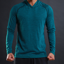 Мужская Повседневная футболка с капюшоном FLORATA, модная Осенняя приталенная Базовая футболка стрейч с длинными рукавами, удобная футболка