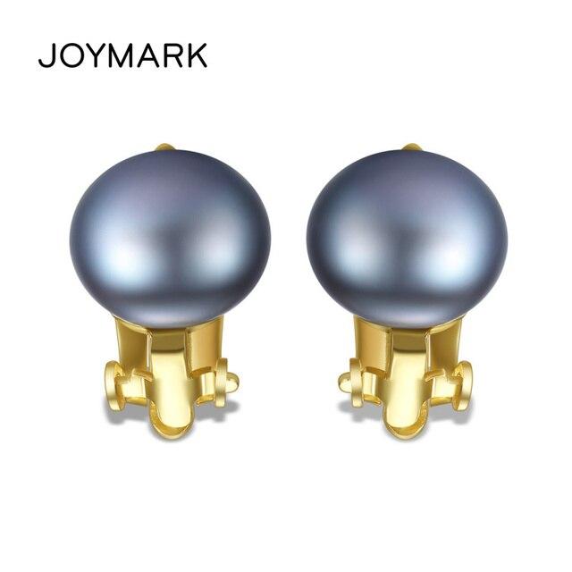 gran descuento 6b388 e73a4 JOYMARK 4 colores de agua dulce pendientes Clip perlas para las mujeres  plata ley oreja No necesita orejas perforadas joyería moda JPSE048