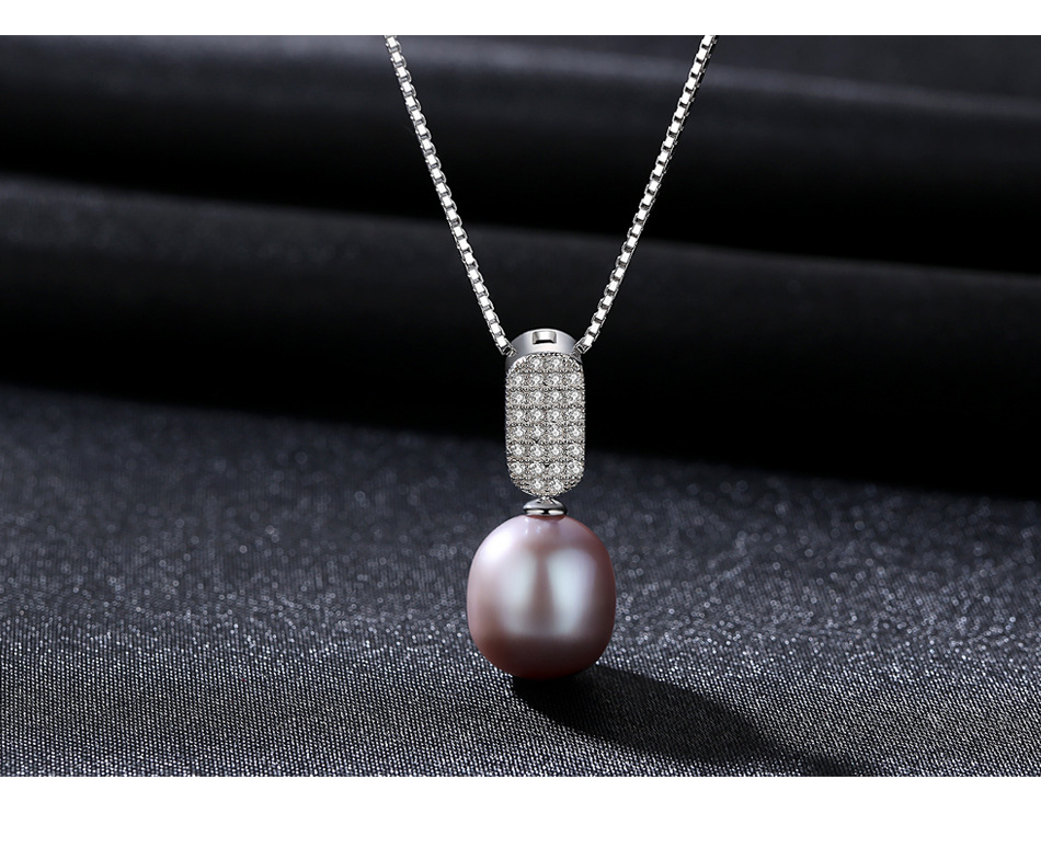 S925 sterling silver natural freshwater pearl necklace pendant fashion clavicle pearl accessories women FFS01