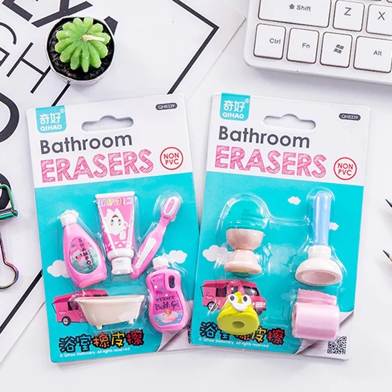 4pcs/set Bathroom Series Toilet Bath Crock Toothbrush Shape Rubber Eraser Kawaii Stationery School Supplies Papelaria Kids Gifts