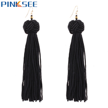 Retro Ethnic Alloy Hook Long Fringe Earrings For Women Weave Pendientes Statement Ear Jewelry 7 Colors Boho Tassel Earrings