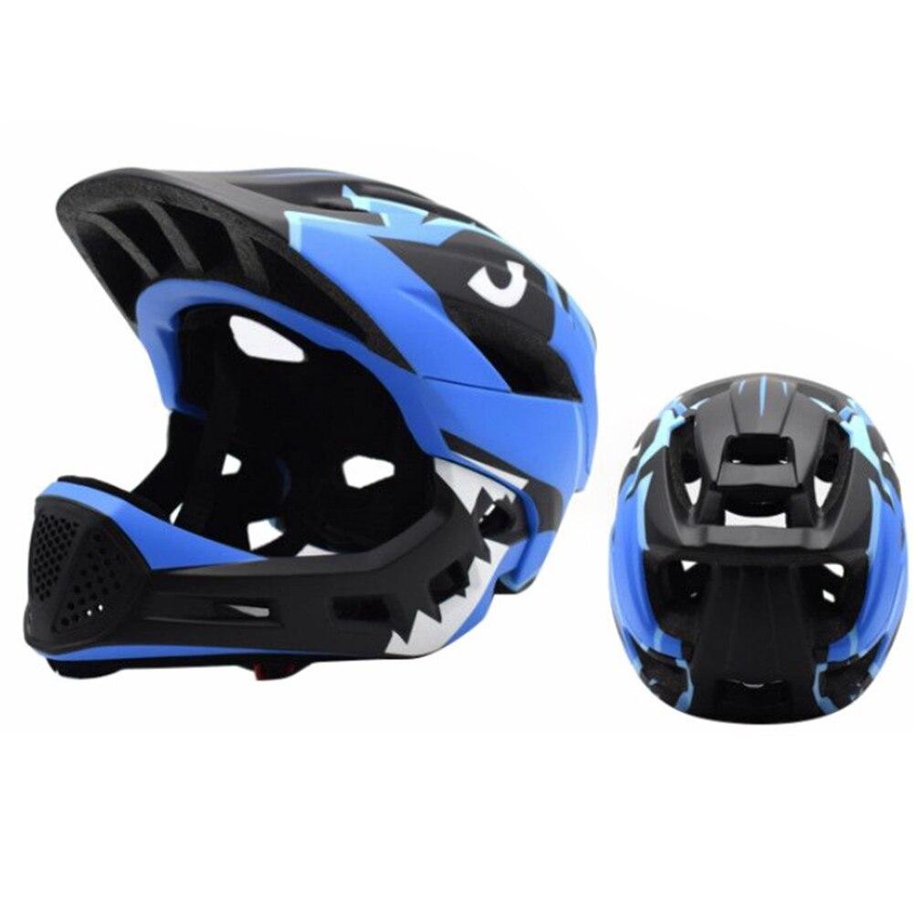 Дети полный уход за кожей лица Детские защитный шлем шапки съемный Crashworthy творчества Велоспорт Шлем модульный флип - Цвет: blue black