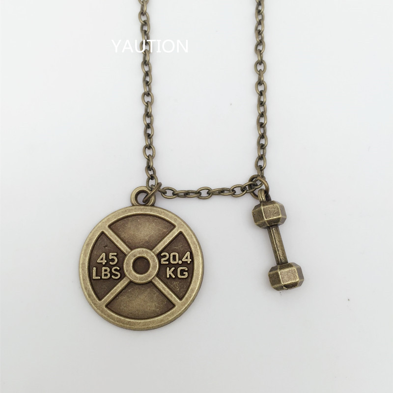 45 WEIGHT PLATE NECKLACE Charm Chain Fitness Weightlifting Gym crossfit