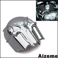 Chrome Skull Horn Cover For Harley Motorcycles With Cowbell Horn Cover 1992 Up