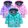 Дети девочки верхняя одежда и пиджак плащ пальто весна осень девочки-младенцы цветок пальто толстовки куртка капот ветровка дети