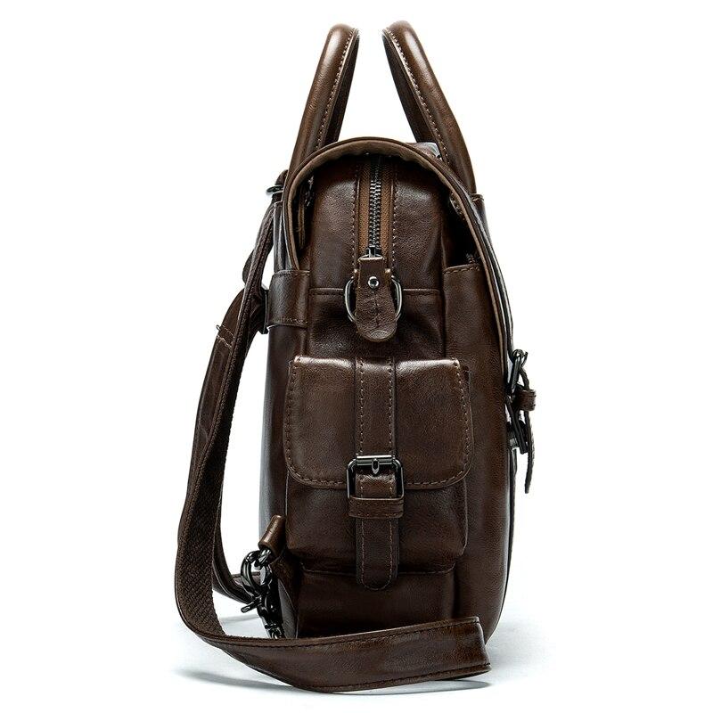 WESTAL maschio piccolo sacchetto di cuoio dello zaino per gli uomini di sacchetto di scuola zaino da viaggio ipad sacchetto di bussiness per studente pacchetto della spalla 9546-in Zaini da Valigie e borse su  Gruppo 2