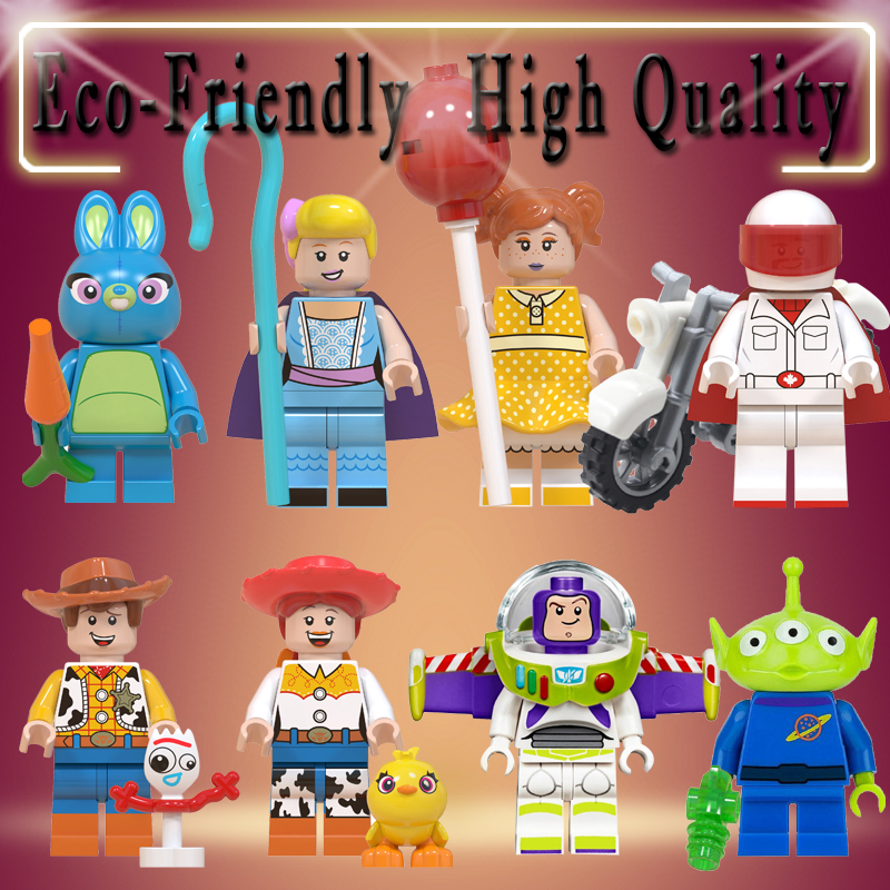 Toys Story 4  Buzz Lightyear Woody Jessie Alien Ducky Bo Peep Bonnie Duke Caboom Building Blocks Model Figures Movie Toy WM6060