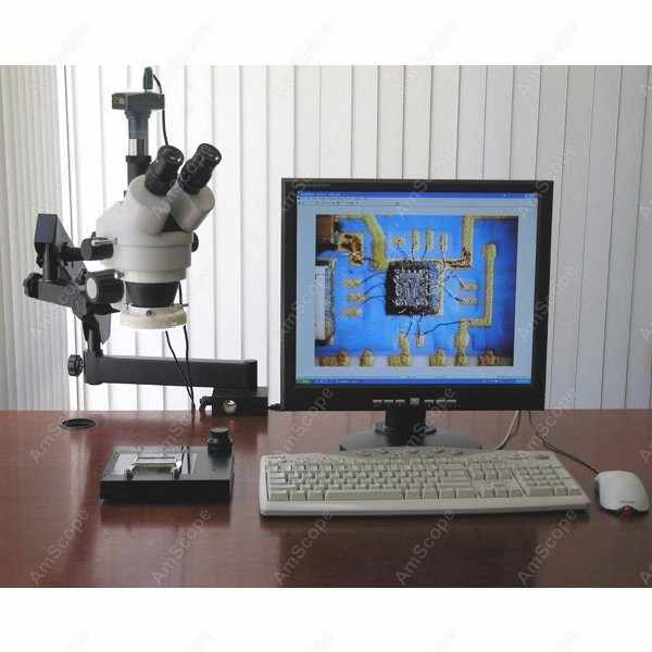 Microscope articulé trinoculaire-AmScope fournit 3.5X-45X Microscope à Zoom articulé trinoculaire + anneau lumineux