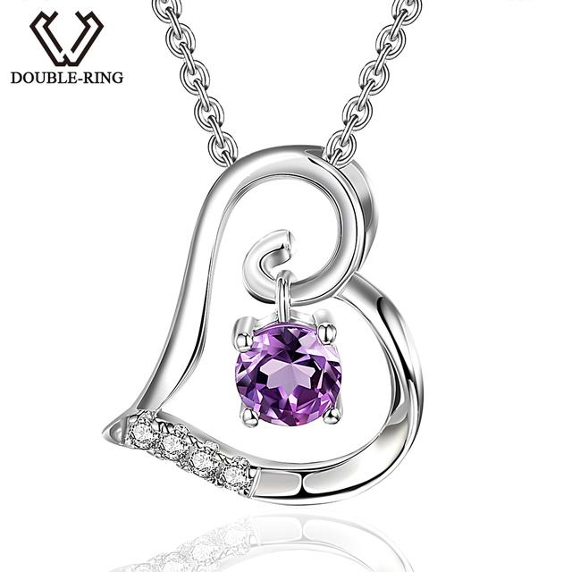 DOUBLE-R 0.32 ct Mulheres Coração Pingentes Natural Ametista 925 Pingente de Prata colares de Pedras Preciosas Jóias Finas CAP03713SA-1