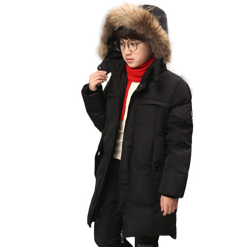 -30 Degree High Quality 2018 Winter New Boys Down Jacket for Boys Fur Hooded Thickening Outerwear Kid Children Warm Down Coat winter jacket for boys 2017 new brand teenage boys fur collar hooded down coat fashion children thicken warm outerwear clothing