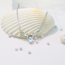цена на 2019 New Fashion Deer Horn Moonstone Pendant Necklace For Women Ladies Girls Birthday Party Gifts Jewelry Wholesale