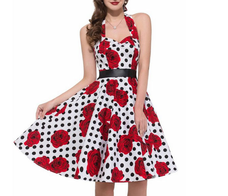 Women Polka Dot Print Summer Dress Sexy Retro White Halter Vintage Dress Plus Size Robe Femme Pin Up Rockabilly Party Dress