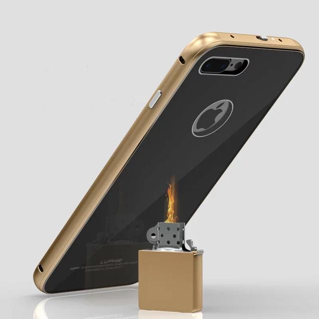 Novo para iphone 7! moldura de alumínio luxo metal + vidro temperado rígido caso capa protetora voltar para iphone 7 7 plus