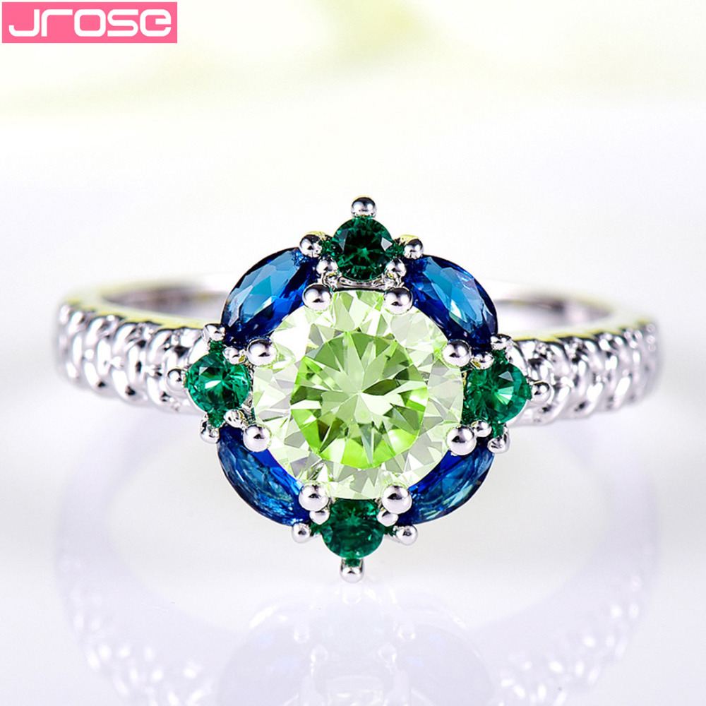 JROSE Venta al por mayor Hot Engagement Round Cut Blue & Green CZ - Bisutería - foto 4