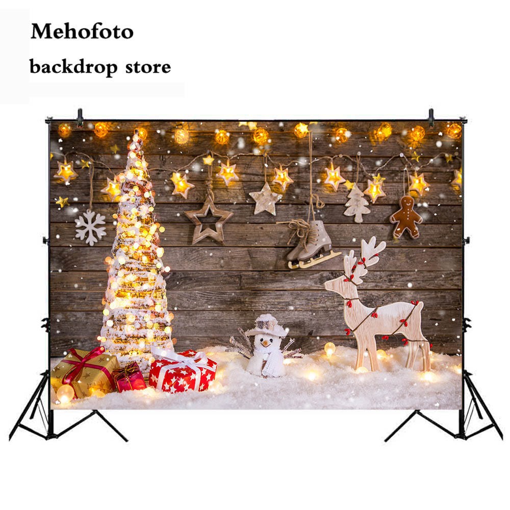 Hot Sale Neoback Winter Snowman Photography Backdrop Christmas Tree