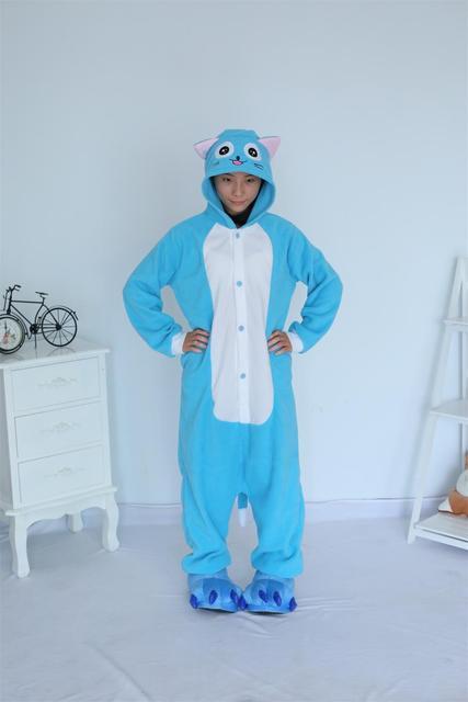 Кигуруми флис новый синий Happy Cat Пижама для взрослых Onesie Косплэй костюм  комбинезон пижамы ползунки платье f6b36b3e3d87a