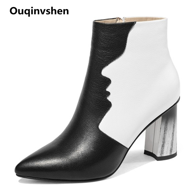Ouqinvshen Mixed Colors Leather Boots Women Zipper Thick Heels Sexy Autumn Winter Women Boots 2018 Pointed Toe Ankle Boots Women printing new boots 2015 autumn winter genuine leather mixed colors thick with pointed toe woman boots stylish comfortable shoes