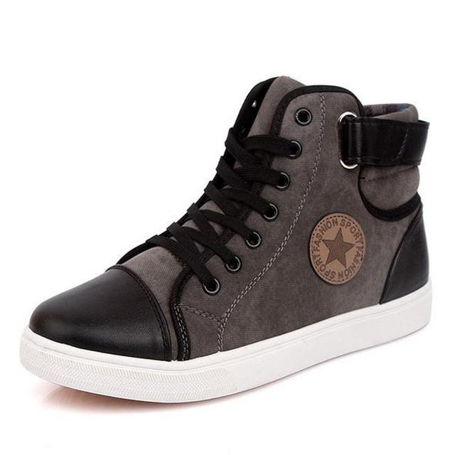 Botas De homens 2016 Outono novos homens Sapatos Casuais Rendas até Pu Homens Sapatos de couro Sapatos Baixos Casuais de Alta Top Botas Homens Tornozelo 9c15