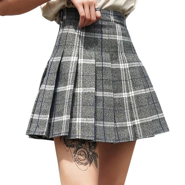 87f8c2496832d Preppy Style School Skirts Women 2018 Spring Summer High Waist Plaid  Pleated Skirts Ladies Mini Checkered